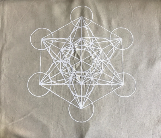 5249 - Crystal Grid Cloth - XL Metatron's Cube - White Ink-1