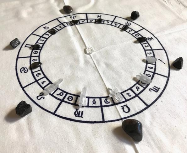 5250 - Crystal Grid Cloth - Astrology Chart - Black Ink-2