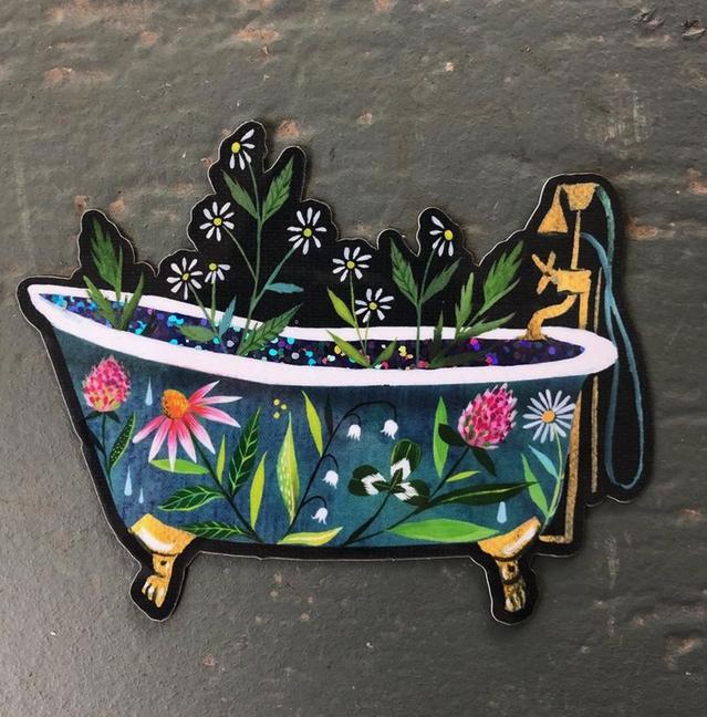 Glossy Sticker | Glitter Bathtub-1