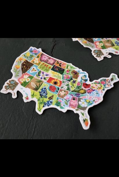 Matte Sticker | US State Flowers