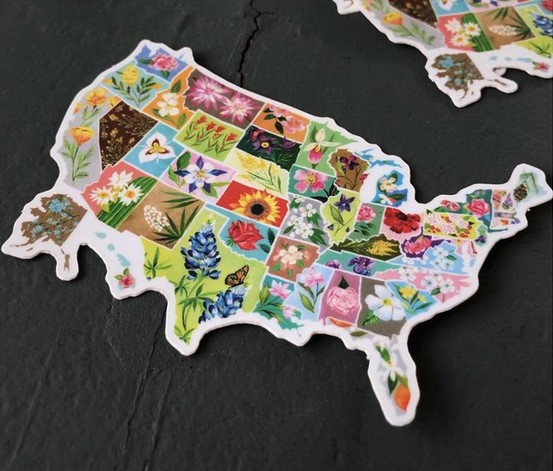Matte Sticker | US State Flowers-1