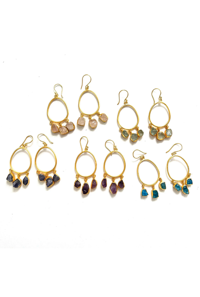 5313 - Earrings - Raw Stone Hoops - Assorted Stones - 18k gold plated over brass - 2x1 inch - Annahmol