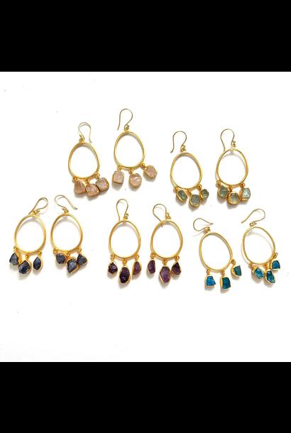 Earrings   Raw Stone Hoops