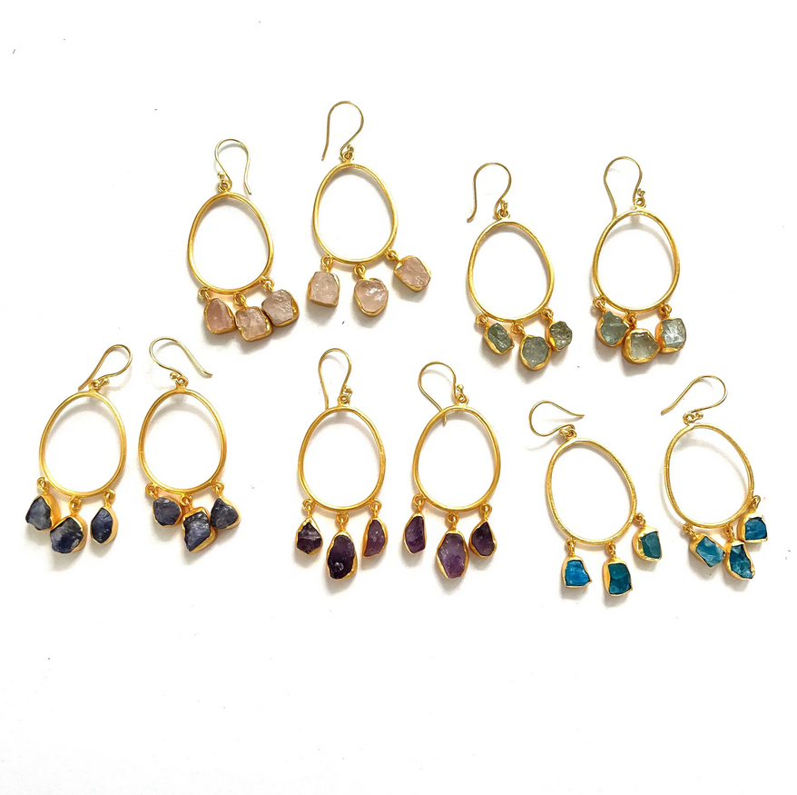 5313 - Earrings - Raw Stone Hoops - Assorted Stones - 18k gold plated over brass - 2x1 inch - Annahmol-1