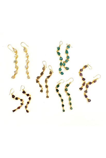 5314 - Earrings - Raw Stone Dangles - Assorted Stones - 18 K gold plated over brass - 3.2x 0.2 inch - Annahmol