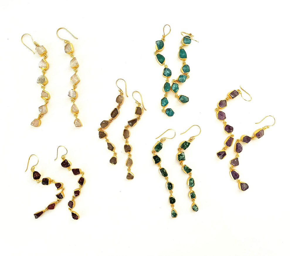 5314 - Earrings - Raw Stone Dangles - Assorted Stones - 18 K gold plated over brass - 3.2x 0.2 inch - Annahmol-1