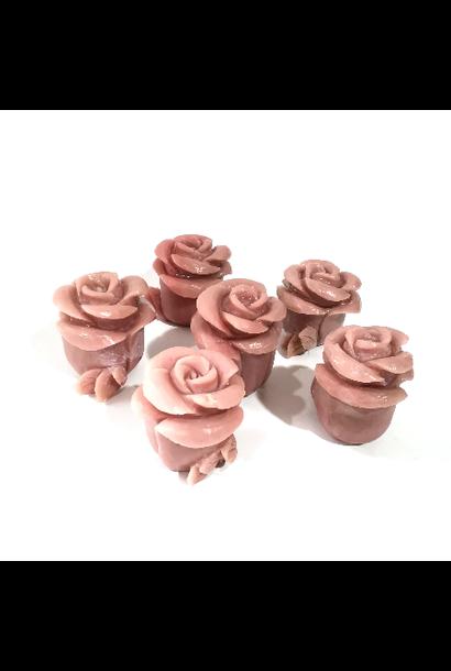 Pink Opal Rose Figurine