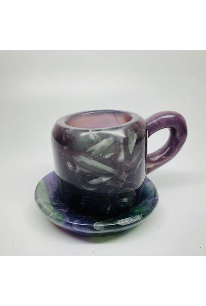 Crystal Mug & Coaster   Rainbow Fluorite