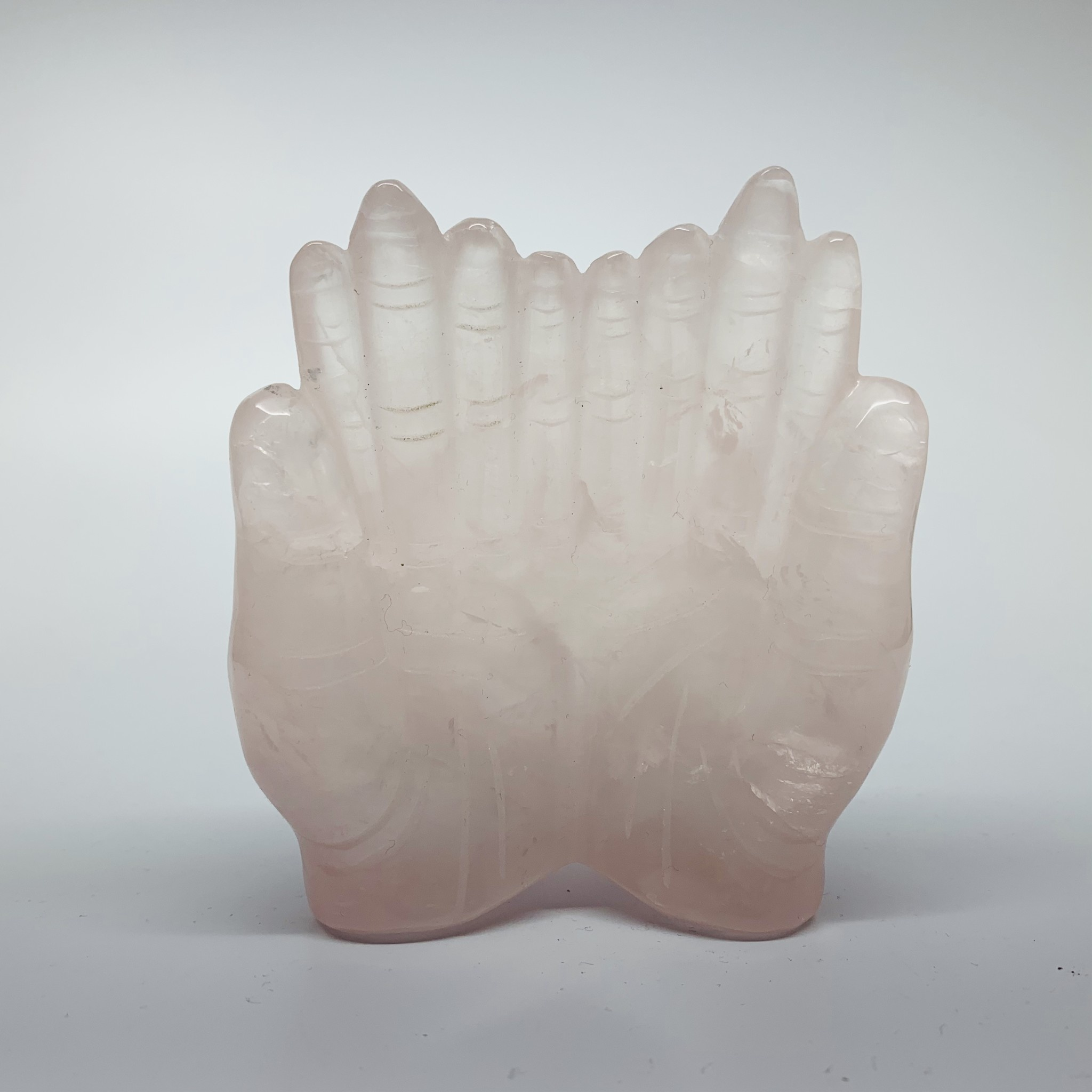 Crystal Carving   Praying Hands   Rose Quartz-1
