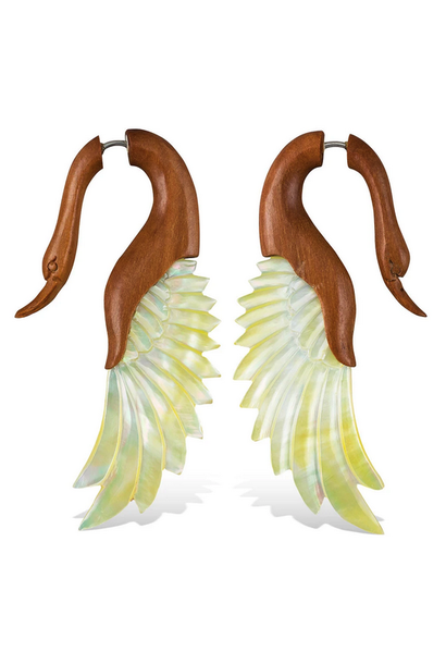5375 - CocoLoco Jewelry - Yafah Swans - Flared Wing Faux Gauges - Abalone & Wood - hand carved