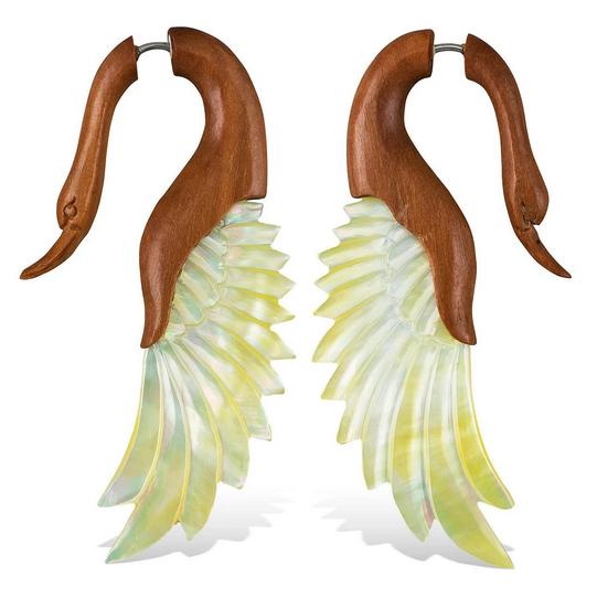 5375 - CocoLoco Jewelry - Yafah Swans - Flared Wing Faux Gauges - Abalone & Wood - hand carved-1