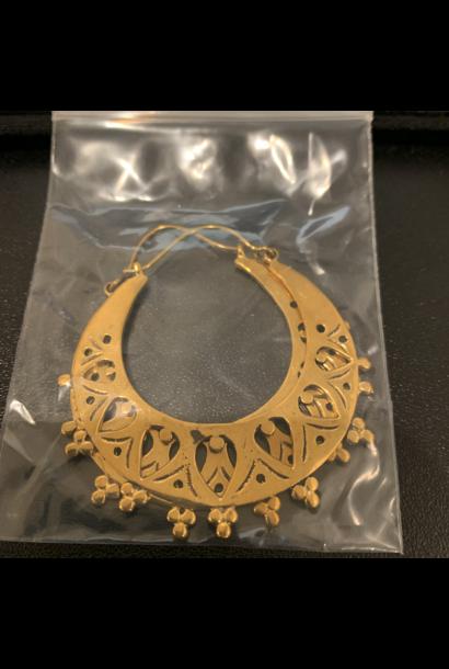 5376 - CocoLoco Jewelry - Medium Hoops - Brass w/ Sterling Silver Posts - Earrings