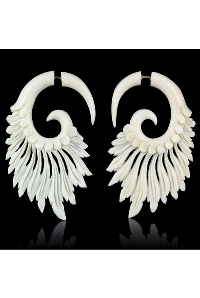 5377 - CocoLoco Jewelry - Tribal Feathers - Flared Wing Faux Gauges - Black or White - hand carved