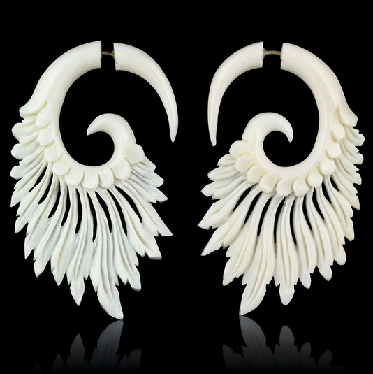 5377 - CocoLoco Jewelry - Tribal Feathers - Flared Wing Faux Gauges - Black or White - hand carved-1