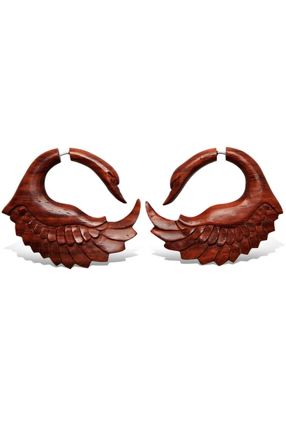 5378 - CocoLoco Jewelry - Red Sankofa Swans - Faux Gauges - BloodWood - hand carved