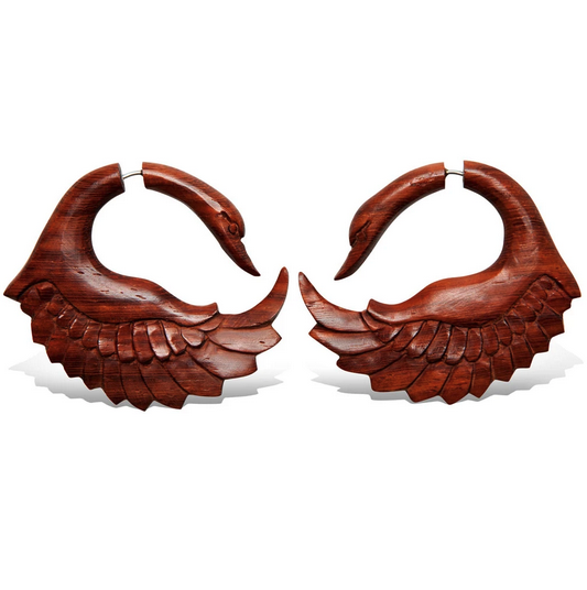 5378 - CocoLoco Jewelry - Red Sankofa Swans - Faux Gauges - BloodWood - hand carved-1