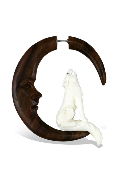 5379 - CocoLoco Jewelry - Howling Wolf - Faux Gauges - Wood & Bone - hand carved