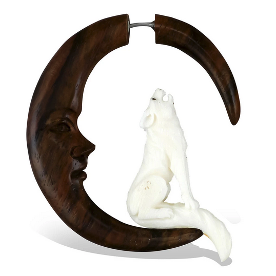5379 - CocoLoco Jewelry - Howling Wolf - Faux Gauges - Wood & Bone - hand carved-1