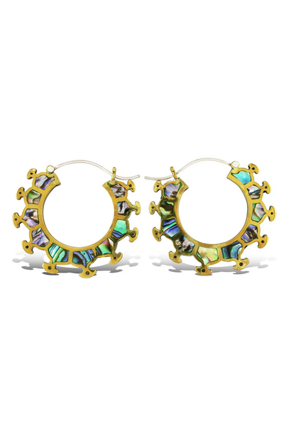 5383 - CocoLoco Jewelry - Abalone Aria Hoops - Brass & Shell w/ sterling silver posts