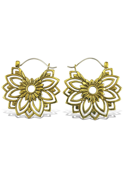 5386 - CocoLoco Jewelry - Mandala Daisy Hoops - MED - Brass w/ Silver Posts - Handmade Earrings