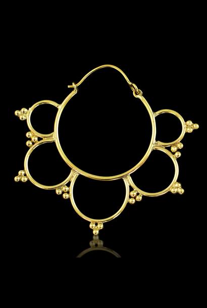 5387 - CocoLoco Jewelry - Kalini Hoops - LRG - Brass w/ Silver Posts - Handmade Earrings