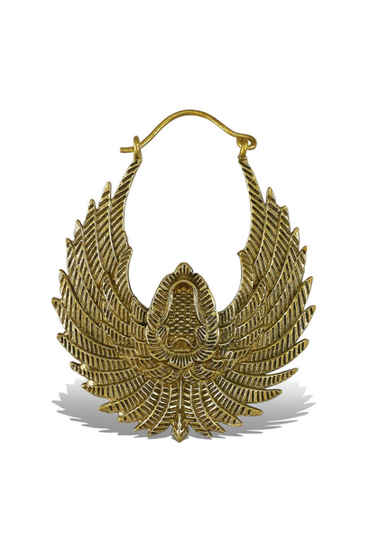 5388 - CocoLoco Jewelry - Falcon Drops - Med - Brass w/ Silver Posts - Handmade Earrings