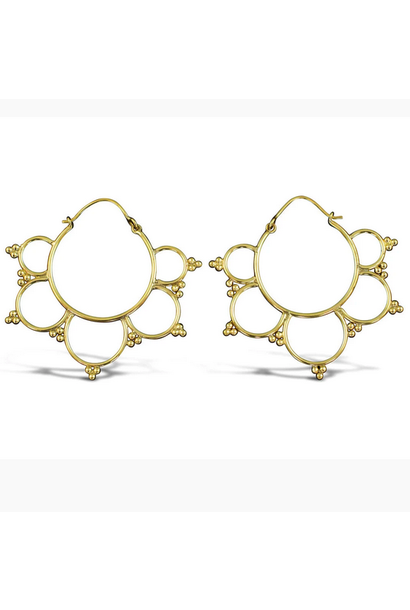5389 - CocoLoco Jewelry - Kalini Hoops - SMALL - Brass w/ Silver Posts - Handmade Earrings