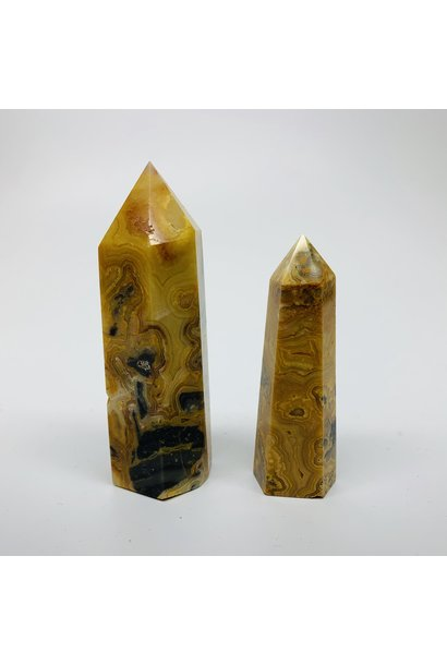 5393 - CRAZY LACE AGATE POINT - TOWER - GENERATOR POINT - 6 SIDED - PER G - BY WEIGHT