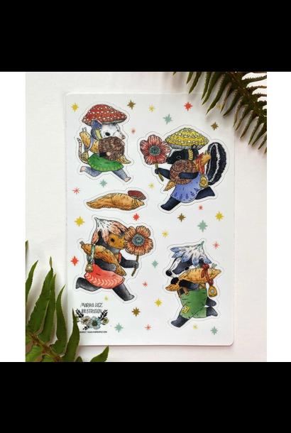 5408 - Matte Vinyl Sticker Sheet - Friends of Slugs - Marika Paz Illustration