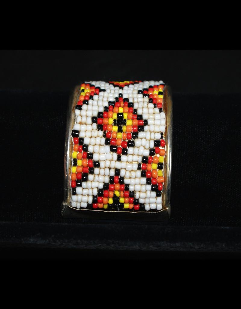 jewelry Navajo White & Orange Beaded Cuff