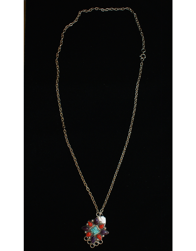 Red Coral, Suglite, and Turquoise Pendant Necklace