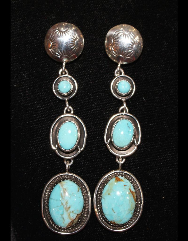 jewelry VIntage Navajo Turquoise Sterling Earrings