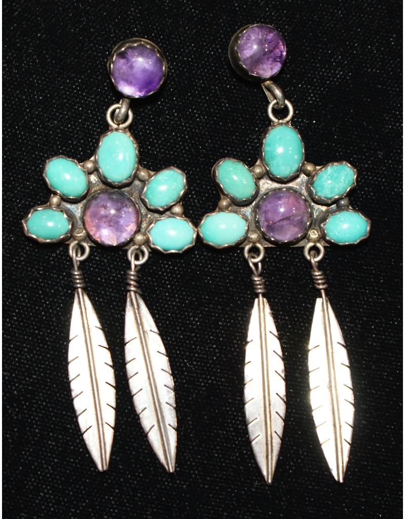 jewelry Sterling Amethyst & Turquoise Earrings