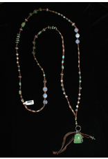 jewelry 3 Angels Turquoise Green Agate & Pendant Necklace