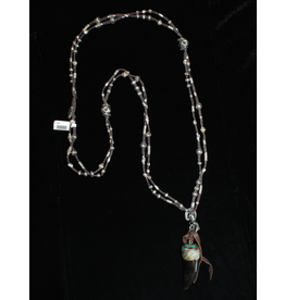 jewelry 3 Angels Silver Necklace with Horn