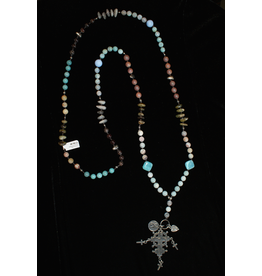 jewelry 3 Angels African Opal Agate with German Cross