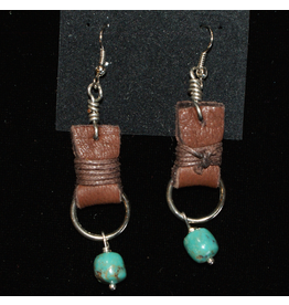 jewelry 3 Angels Turquoise Earrings with Leather