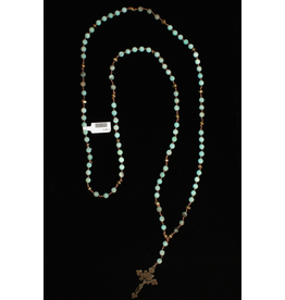 jewelry 3 Angels Faceted Turquoise with Brass Cross