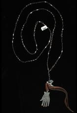 jewelry 3 Angels Black Swarovski Beads with Hand & Cross Pendant
