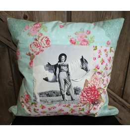 HOMEGOODS Light Blue Cowgirl Pillow with Posing Horse