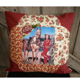 HOMEGOODS Red Rose Cowgirl Pillow