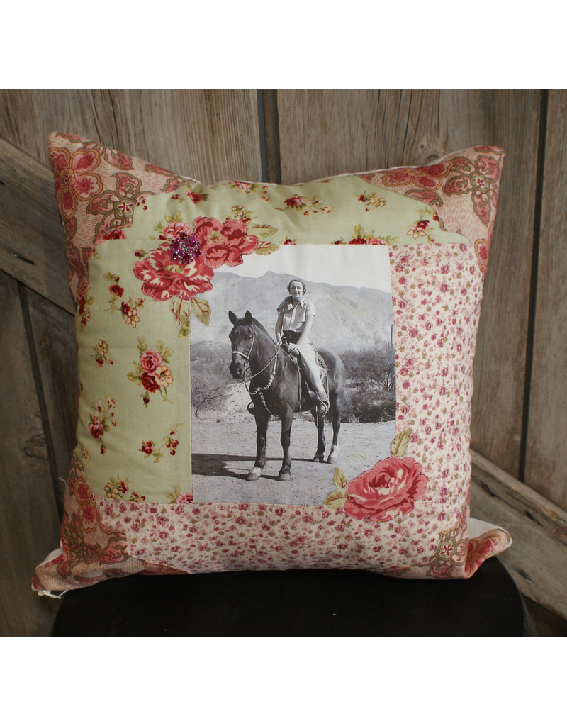 ACCESSORIES Green & Pink Cowgirl Pillow