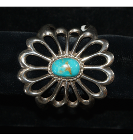 jewelry Silver Flower with Turquoise Bracelet