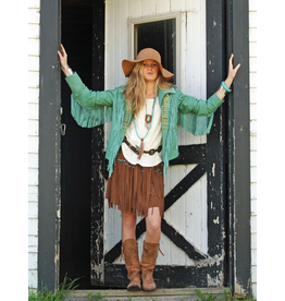 APPAREL DAKOTA FRINGE TURQUOISE JACKET