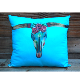 HOMEGOODS Totem Salvaged Steer Head with Turquoise Pillow