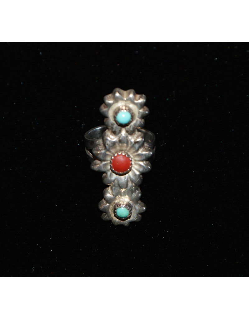 jewelry Native American Turquoise & Coral Ring