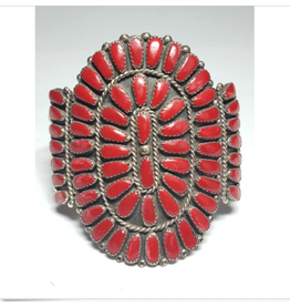 jewelry Vintage 1970s Red Coral Petit Point Bracelet