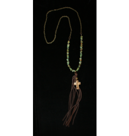 jewelry J Forks Turquoise Jasper Cross Necklace with Tassel