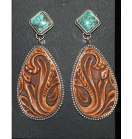 jewelry BEAUTIFUL HAND TOOLED WITH TUQUOISE EARRINGS