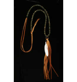 jewelry J Forks Imperial Jasper and Bone Feather Necklace